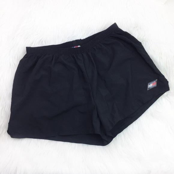 9d2f4defada7 Tommy Hilfiger Vintage 90s Black Athletic Shorts. M 5aca8785a44dbed42e9a4351